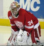 Petr Mrazek gets set in his crease during a Grand Rapids Griffins game.
