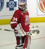Petr Mrazek stands at the top of his crease during a Grand Rapids Griffins game.
