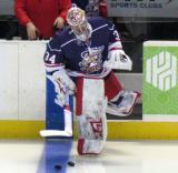 Petr Mrazek leads the team onto the ice for pre-game warmups before the Grand Rapids Griffins' Purple Game.