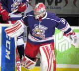 Tom McCollum steps onto the ice for pre-game warmups before the Grand Rapids Griffins' Purple Game.