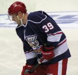 Jan Mursak stickhandles with a puck during pre-game warmups before the Grand Rapids Griffins' Purple Game.