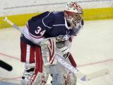 Petr Mrazek gets set at the top of his crease during pre-game warmups before the Grand Rapids Griffins' Purple Game.