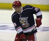 Jan Mursak skates with the puck during pre-game warmups before the Grand Rapids Griffins' Purple Game.