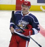 Brett Skinner skates near center ice during pre-game warmups before the Grand Rapids Griffins' Purple Game.