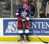 Louis-Marc Aubry waits to make a pass during pre-game warmups before the Grand Rapids Griffins' Purple Game.