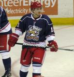 Gustav Nyquist looks out to the blue line during pre-game warmups before the Grand Rapids Griffins' Purple Game.