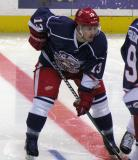 Gustav Nyquist gets set on wing for the opening faceoff of the Grand Rapids Griffins' Purple Game.
