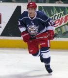 Gustav Nyquist skates in from the boards during the Grand Rapids Griffins' Purple Game.