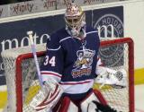 Petr Mrazek gets set in his crease during the Grand Rapids Griffins' Purple Game.
