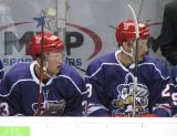 Luke Glendening and Tomas Jurco sit on the bench during the Grand Rapids Griffins' Purple Game.