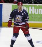 Brennan Evans tracks a developing play during the Grand Rapids Griffins' Purple Game.