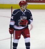 Chad Billins looks to the bench during a stop in play in the Grand Rapids Griffins' Purple Game.