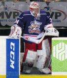 Petr Mrazek steps onto the ice for the second period of the Grand Rapids Griffins' Purple Game.