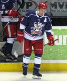 Nathan Paetsch takes the ice for the second period of the Grand Rapids Griffins' Purple Game.