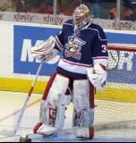 Petr Mrazek gets set in his crease for the second period of the Grand Rapids Griffins' Purple Game.