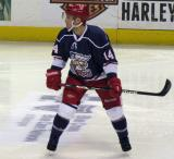 Chad Billins follows a developing play during the Grand Rapids Griffins' Purple Game.