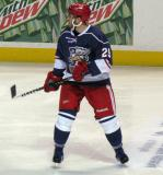 Landon Ferraro follows a developing play during the Grand Rapids Griffins' Purple Game.