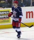 Brett Skinner skates back to the bench during a stop in play in the Grand Rapids Griffins' Purple Game.
