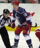 Louis-Marc Aubry gets set for a faceoff during the Grand Rapids Griffins' Purple Game.