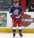Gustav Nyquist stands near the bench during a stop in play in the Grand Rapids Griffins' Purple Game.