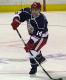 Chad Billins makes an outlet pass during the Grand Rapids Griffins' Purple Game.
