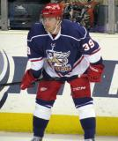 Jan Mursak gets set for a faceoff during the Grand Rapids Griffins' Purple Game.