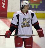Mitch Callahan stands near center ice during pre-game warmups before a Grand Rapids Griffins game.