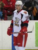 Tomas Jurco stands at the blue line during pre-game warmups before a Grand Rapids Griffins game.