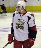 Louis-Marc Aubry stands in the neutral zone during pre-game warmups before a Grand Rapids Griffins game.