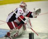 Petr Mrazek comes out to make a stop during pre-game warmups before a Grand Rapids Griffins game.