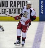 Francis Pare skates at the blue line during pre-game warmups before a Grand Rapids Griffins game.
