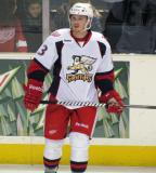 Gustav Nyquist stands near the boards during pre-game warmups before a Grand Rapids Griffins game.