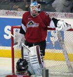 Calvin Pickard of the Lake Erie Monsters stand in his crease during pre-game warmups before a game against the Grand Rapids Griffins.