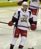 Francis Pare skates in the offensive zone during a stop in play in a Grand Rapids Griffins game.