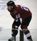 Thomas Pock of the Lake Erie Monsters gets set for a faceoff during a game against the Grand Rapids Griffins.
