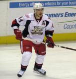 Brennan Evans skates in from the boards during a Grand Rapids Griffins game.