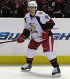 Francis Pare skates along the boards during a Grand Rapids Griffins game.