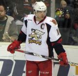 Jeff Hoggan stands along the boards during a stop in play in a Grand Rapids Griffins game.