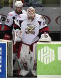 Petr Mrazek and Landon Ferraro lead the Grand Rapids Griffins onto the ice for the third period.
