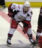 Gustav Nyquist gets set for a faceoff during a Grand Rapids Griffins game.
