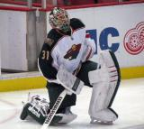 Matt Hackett of the Minnesota Wild stretches during pre-game warmups before a game against the Detroit Red Wings.