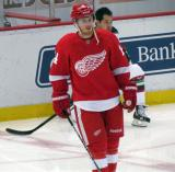 Gustav Nyquist skates in the neutral zone during pre-game warmups.