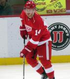 Gustav Nyquist glances across the ice during pre-game warmups.