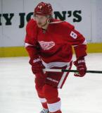 Justin Abdelkader skates during pre-game warmups.