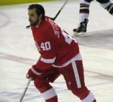 Henrik Zetterberg skates at center ice during pre-game warmups.