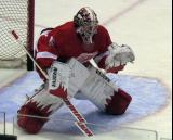 Jimmy Howard comes out to face a shot during pre-game warmups.