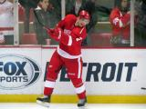 Brendan Smith makes a pass from the boards during pre-game warmups.