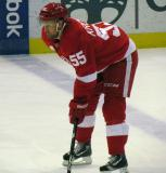 Niklas Kronwall crouches at the blue line during pre-game warmups.