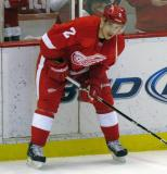Brendan Smith looks to make a pass from along the boards during pre-game warmups.