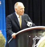 University of Michigan head coach Red Berenson addresses the media from the podium during the 2014 Winter Classic announcement press conference.